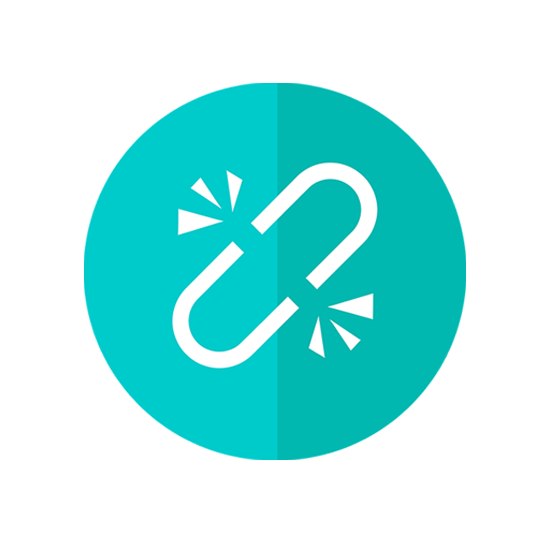 icon of a link with a turquoise background