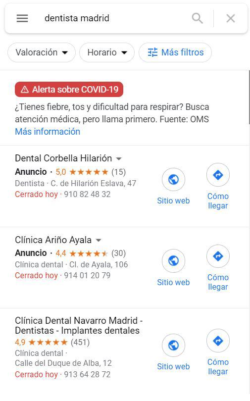 ejemplo de resultados de busqueda en Google Maps