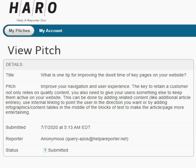 example of HARO pitch
