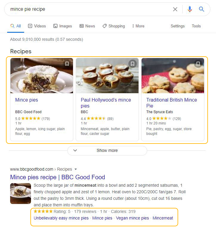 example of featured snippets